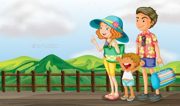 Family on a Wooden Bridge - People Characters