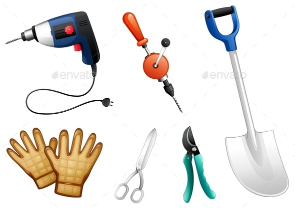 Six Different Kinds of Construction Tools - Man-made Objects Objects