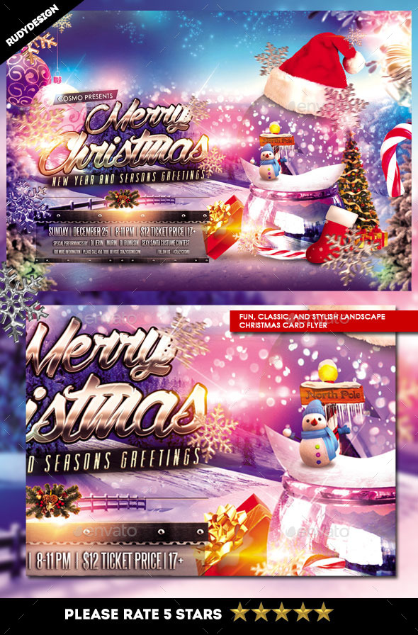 Merry Christmas Card Flyer - Holidays Events