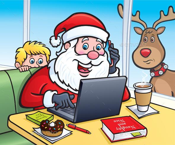 Santa At A Coffee Shop On A Laptop - Christmas Seasons/Holidays
