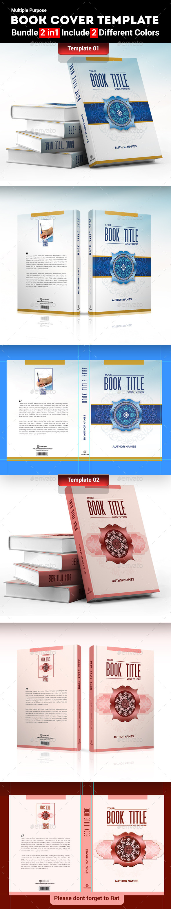 Book Cover Template (Bundle 2 in 1) - Miscellaneous Print Templates