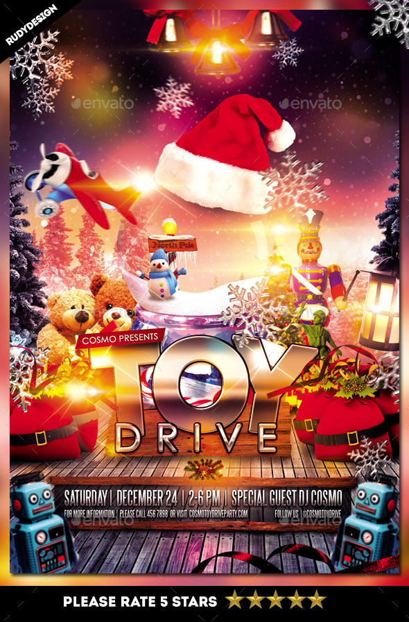 Toy Drive Charity Flyer Template - Events Flyers