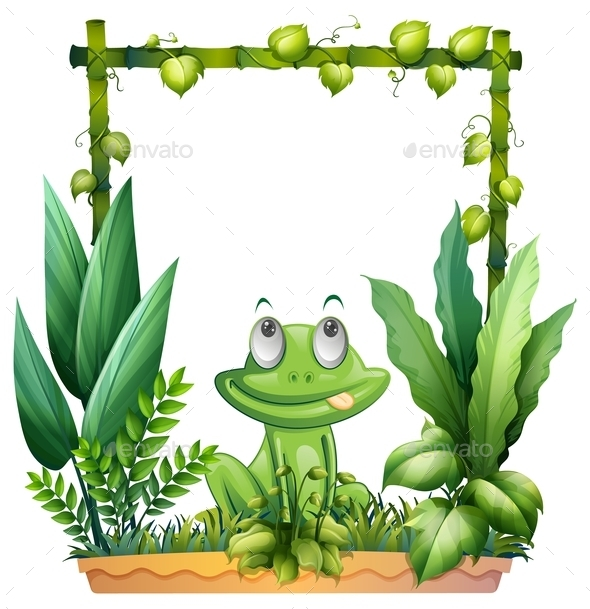 Thinking Frog with Background - Animals Characters