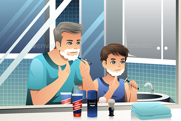 Father and Son Shaving - People Characters