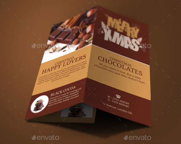 christmas chocolates brochure template by blogankids