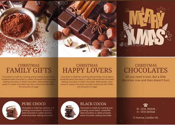 Christmas Chocolates Brochure Template By Blogankids | Graphicriver