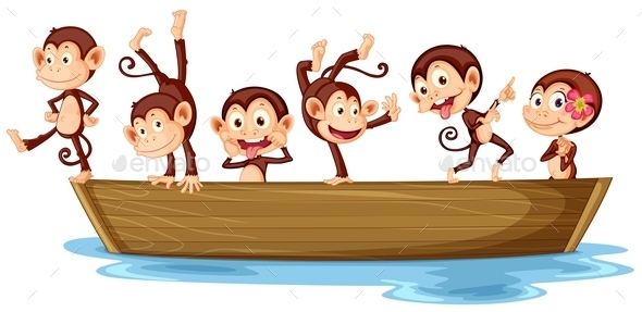 Monkeys and Boat - Animals Characters