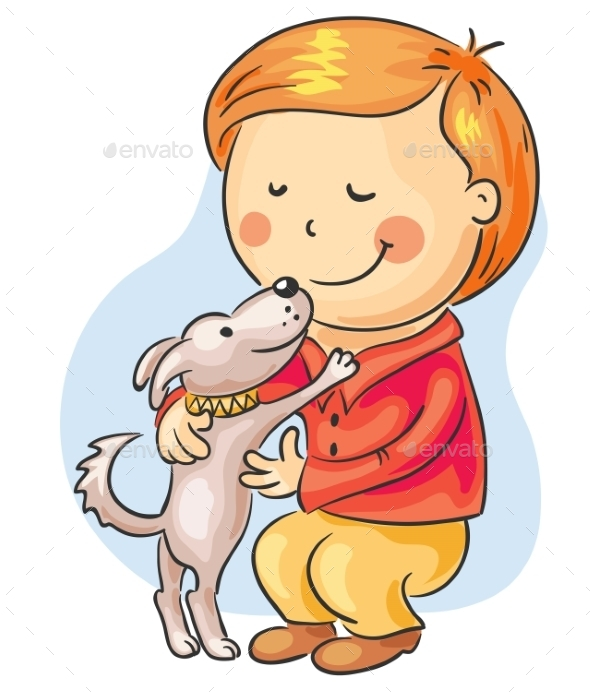 Boy with his Pet - People Characters