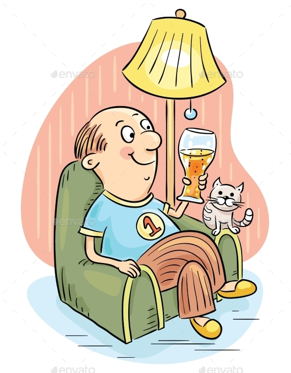 Man Drinking Beer in an Arm-Chair - People Characters