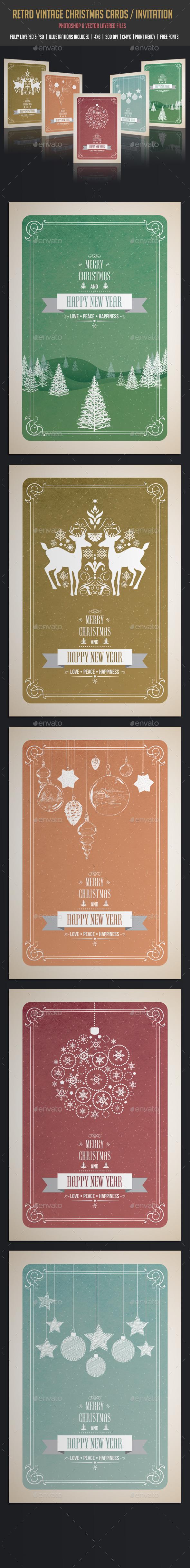 Vintage & Retro Christmas Cards / Invitation - Cards & Invites Print Templates