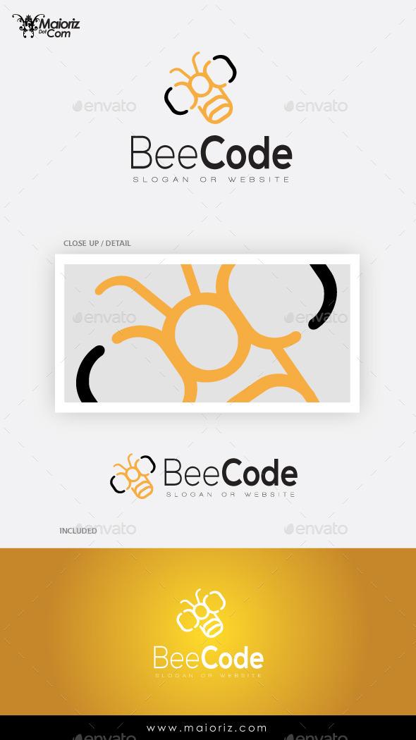 Bee Code Logo Template - Animals Logo Templates