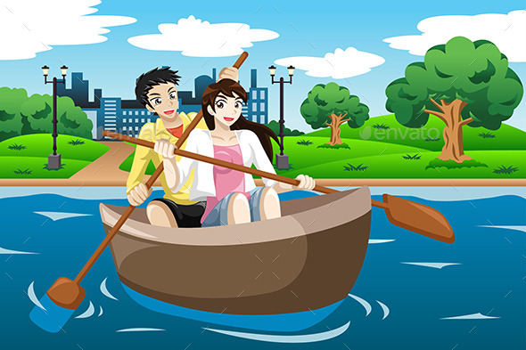 Happy Couple Rowing a Boat - Sports/Activity Conceptual