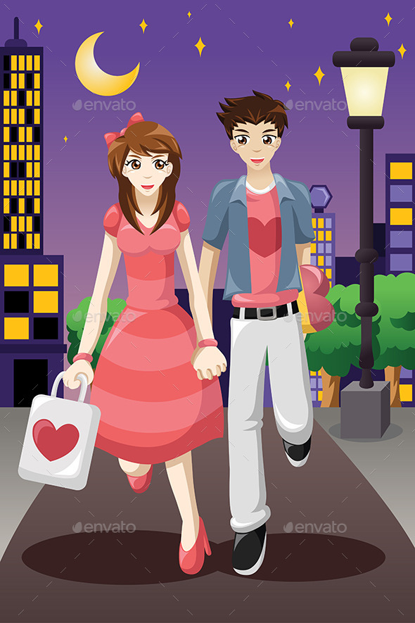 Couple Going Out on a Valentine's Day - Valentines Seasons/Holidays