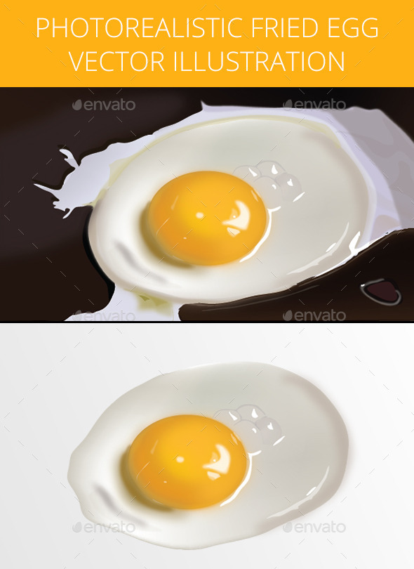 Photorealistic Fried Egg Illustration - Food Objects