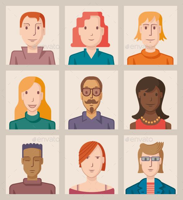 Nine Avatars. Flat - People Characters