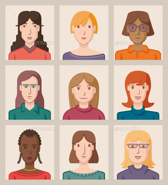 Nine Female Avatars - People Characters