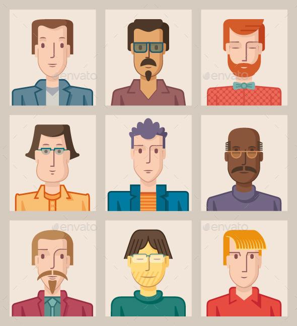 Nine Male Avatars. Flat - People Characters