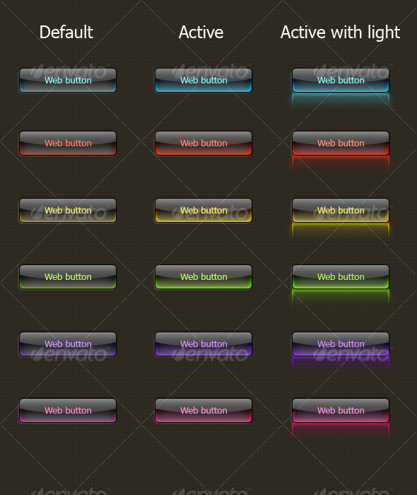 Glass Button (dark background) - Buttons Web Elements