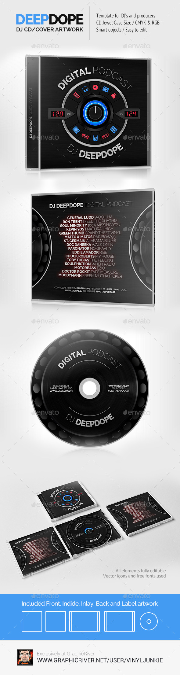 DeepDope - DJ Mix CD Cover Artwork PSD - CD & DVD Artwork Print Templates