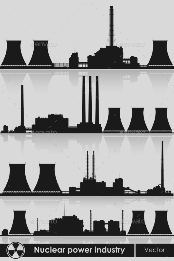Nuclear Power Plants Silhouette - Buildings Objects