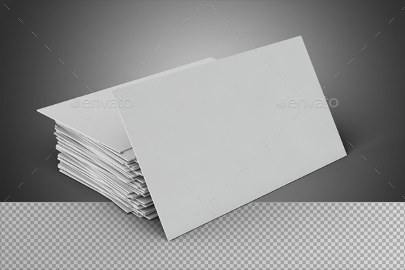 Blank Business Card On Transparent Background - 3D Backgrounds