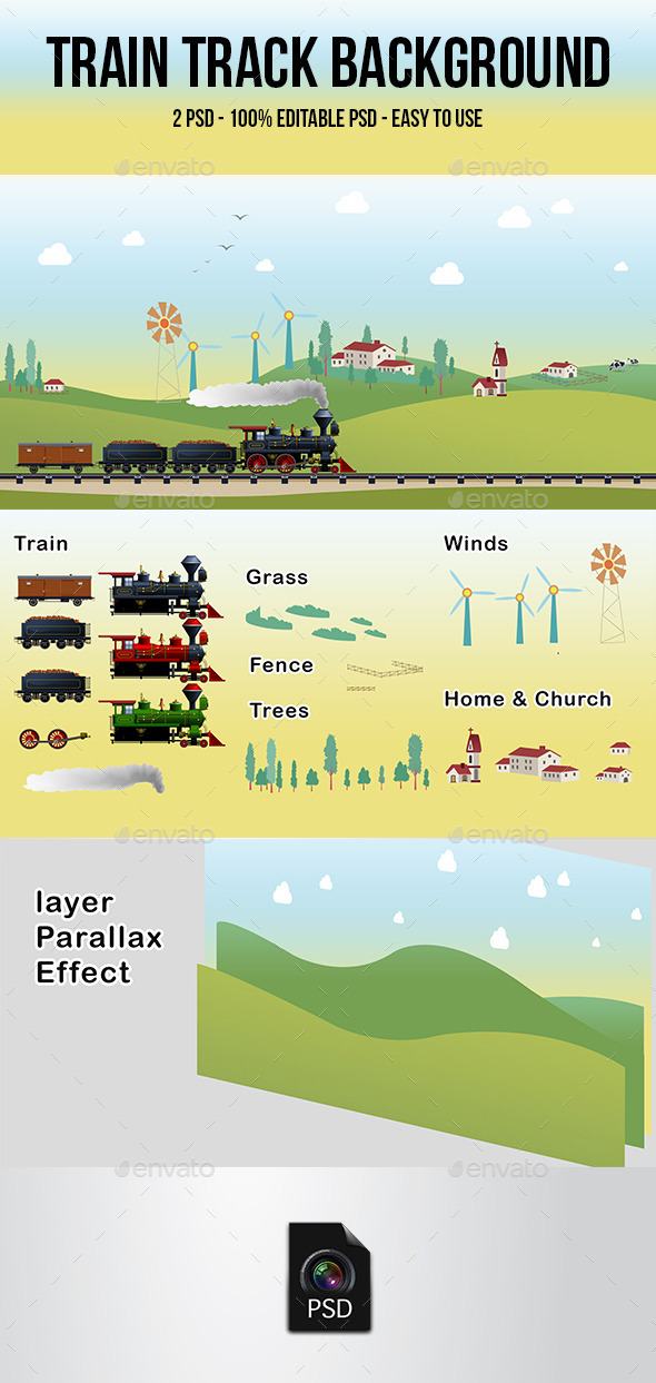 Train Track Background 01 - Backgrounds Game Assets