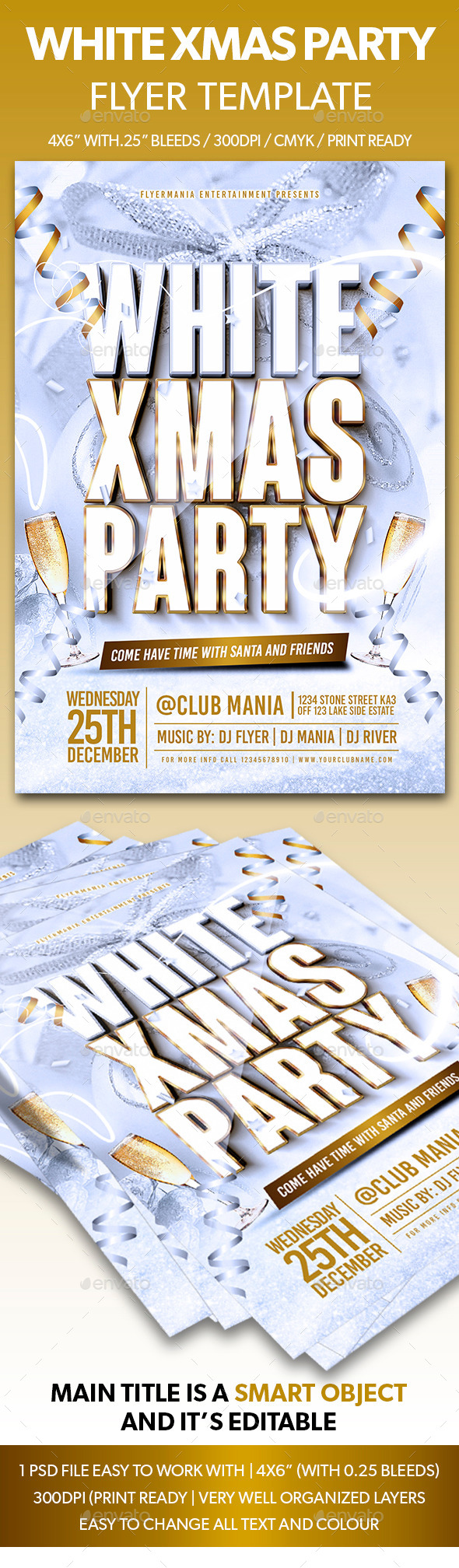 White Xmas Party Flyer Template - Holidays Events