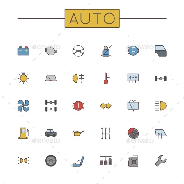 Vector Colored Auto Line Icons - Industries Business