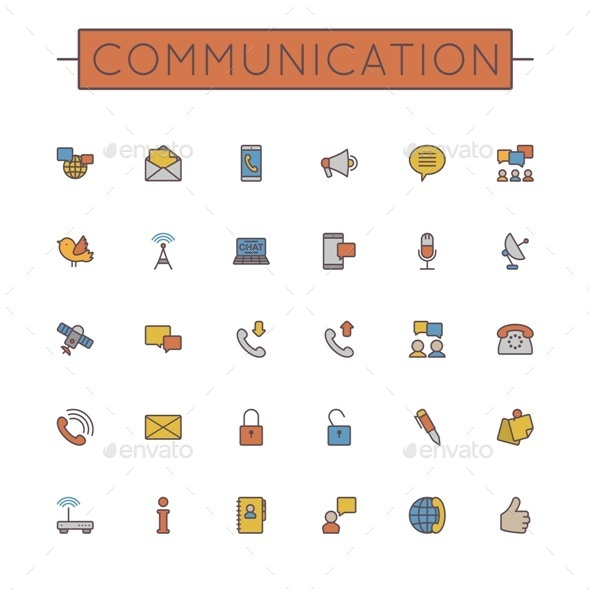 Vector Colored Communication Line Icons - Media Icons