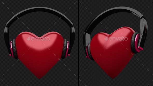 Beating Heart With DJ Headphones - 3D Backgrounds