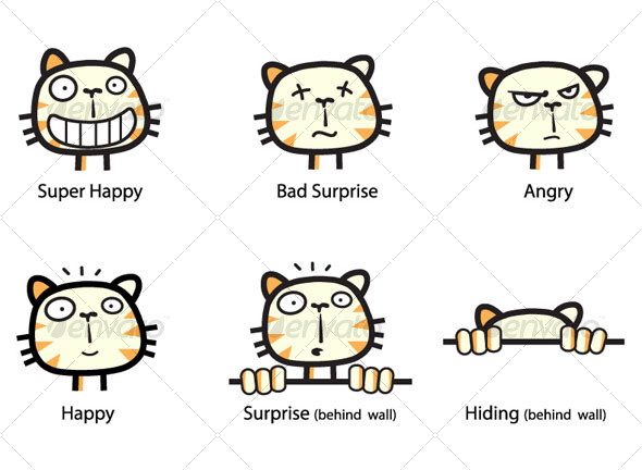 The Cat - Emoticons Set - Animals Characters