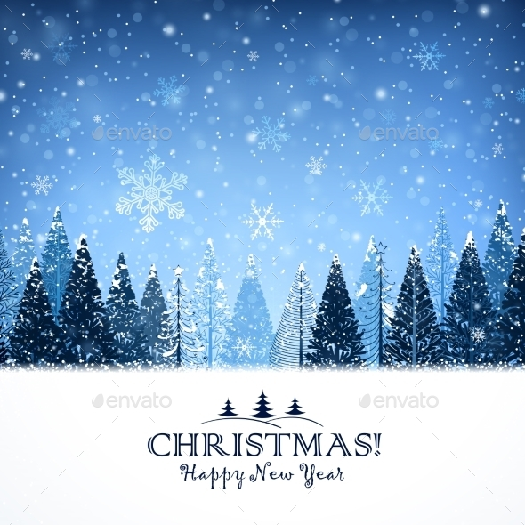 Christmas Background with Trees - Christmas Seasons/Holidays