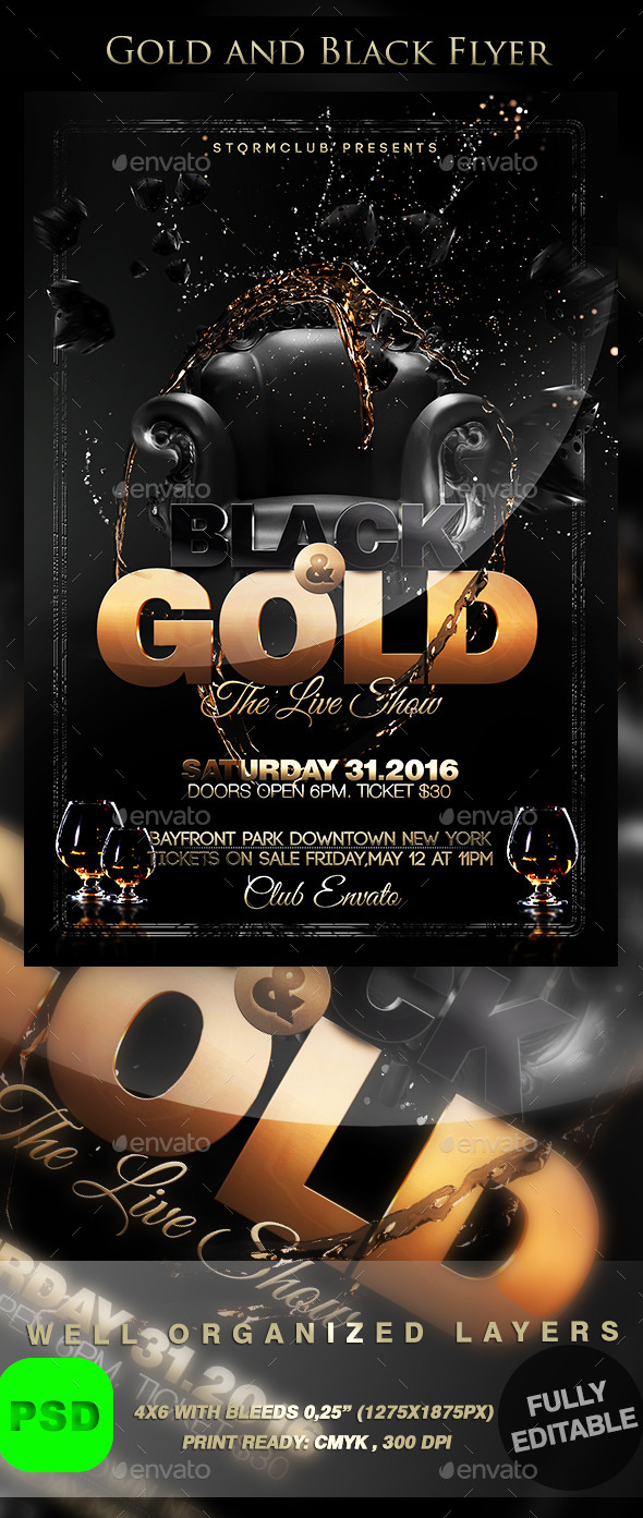Gold and Black Flyer - Events Flyers