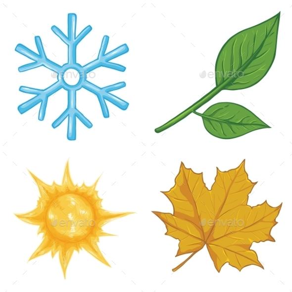 Set of Cartoon Season Icons - Miscellaneous Vectors