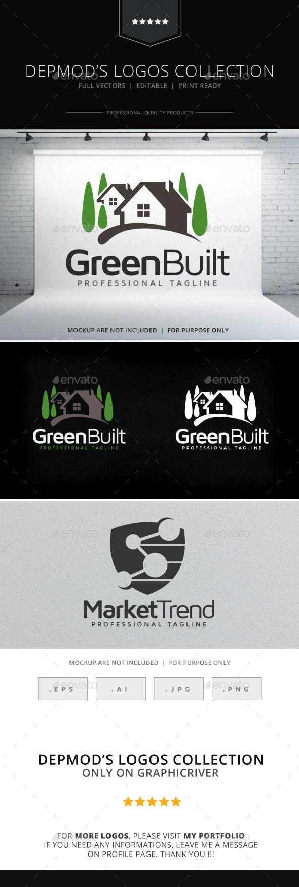 Green Built Logo - Buildings Logo Templates