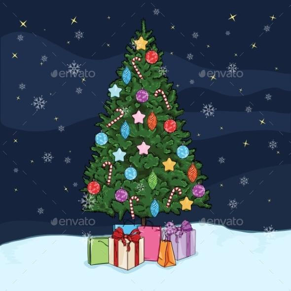 Postcard Illustration of Christmas Tree - New Year Seasons/Holidays