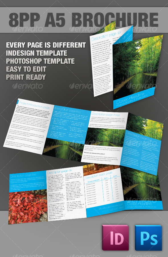 8pp A5 Brochure - InDesign & Photoshop templates - Corporate Brochures