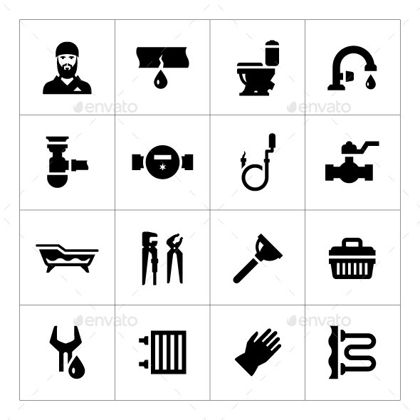Set Icons of Plumbing - Man-made objects Objects
