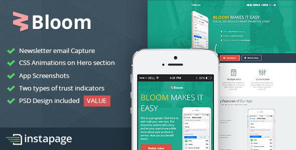 Bloom - Instapage Mobile App Template - Instapage Marketing
