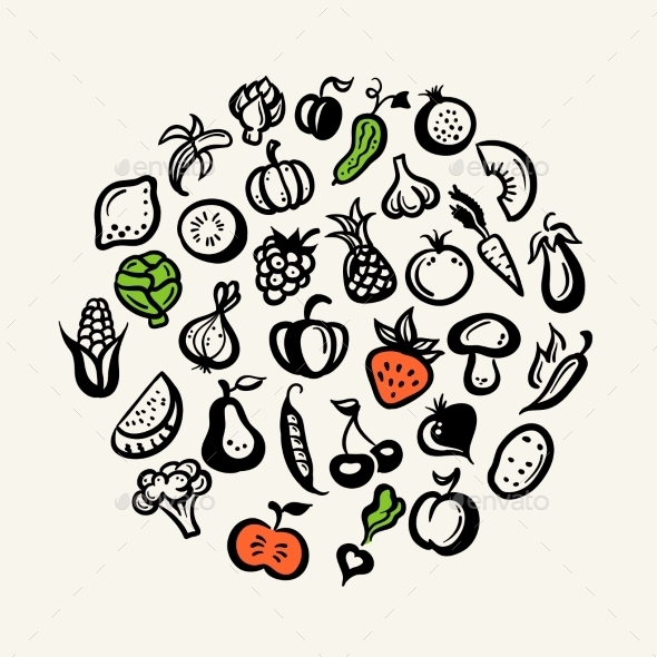 Set of Fruit and Vegetables Icons - Food Objects