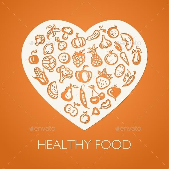 Fruits and Vegetables Heart - Conceptual Vectors