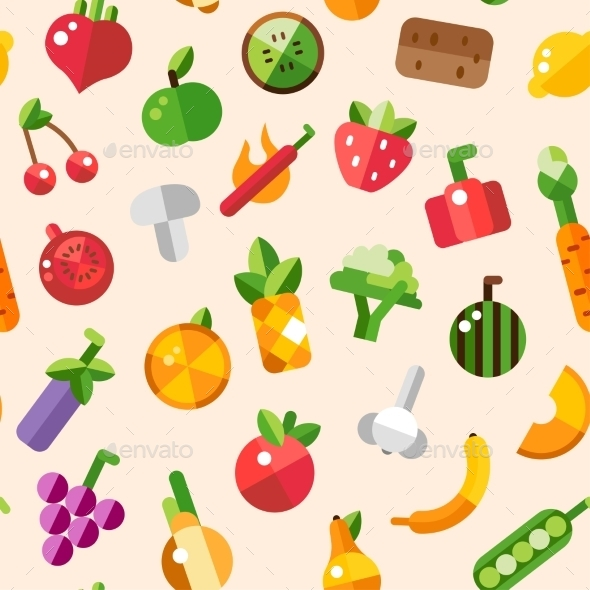 Fruits and Vegetables - Patterns Decorative