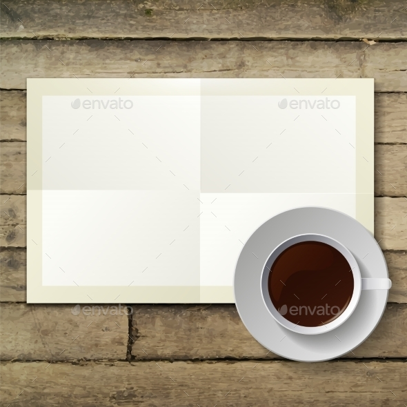 Cup of Coffee and Note Paper - Conceptual Vectors