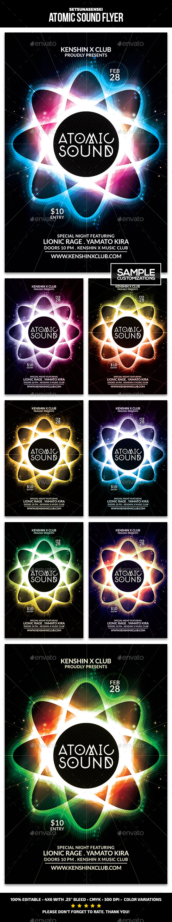 Atomic Sound Flyer - Clubs & Parties Events