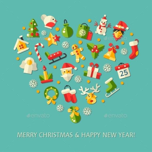 Christmas and Happy New Year Heart - Christmas Seasons/Holidays