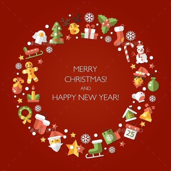 Christmas and Happy New Year Wreath - Christmas Seasons/Holidays