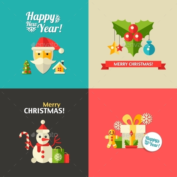 Illustration of Christmas and Happy New Year - Christmas Seasons/Holidays