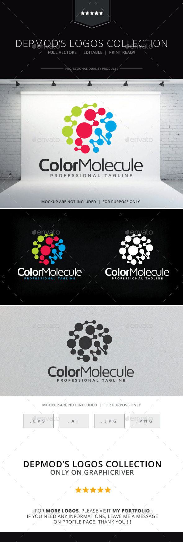 Color Molecule Logo - Abstract Logo Templates