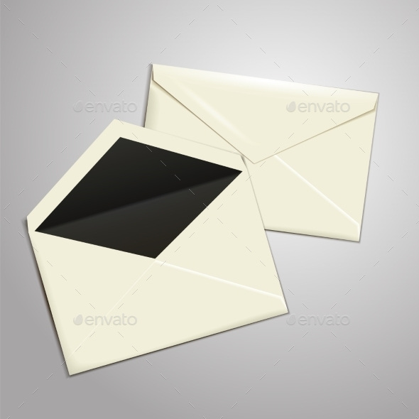 Blank White Envelopes Opened and Closed - Objects Vectors