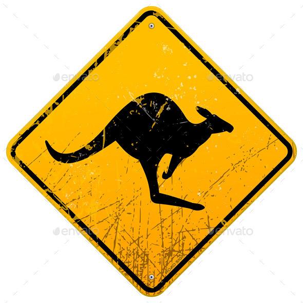 Kangaroo Vintage Sign - Animals Characters